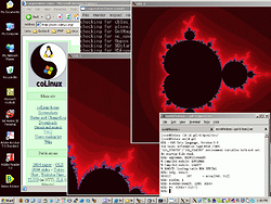 GDL rendering the Madnelbrot set in an X window under coLinux on Windows